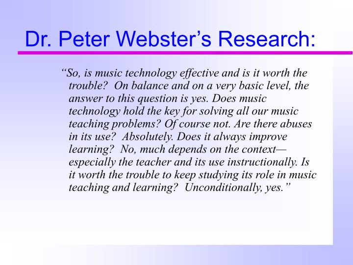 Dr peter webster s research