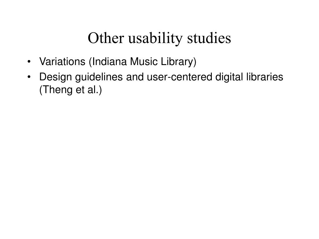 Other usability studies