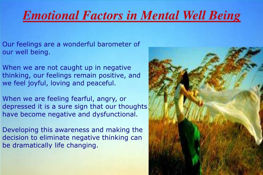 Emotional Factors in Mental Well Being