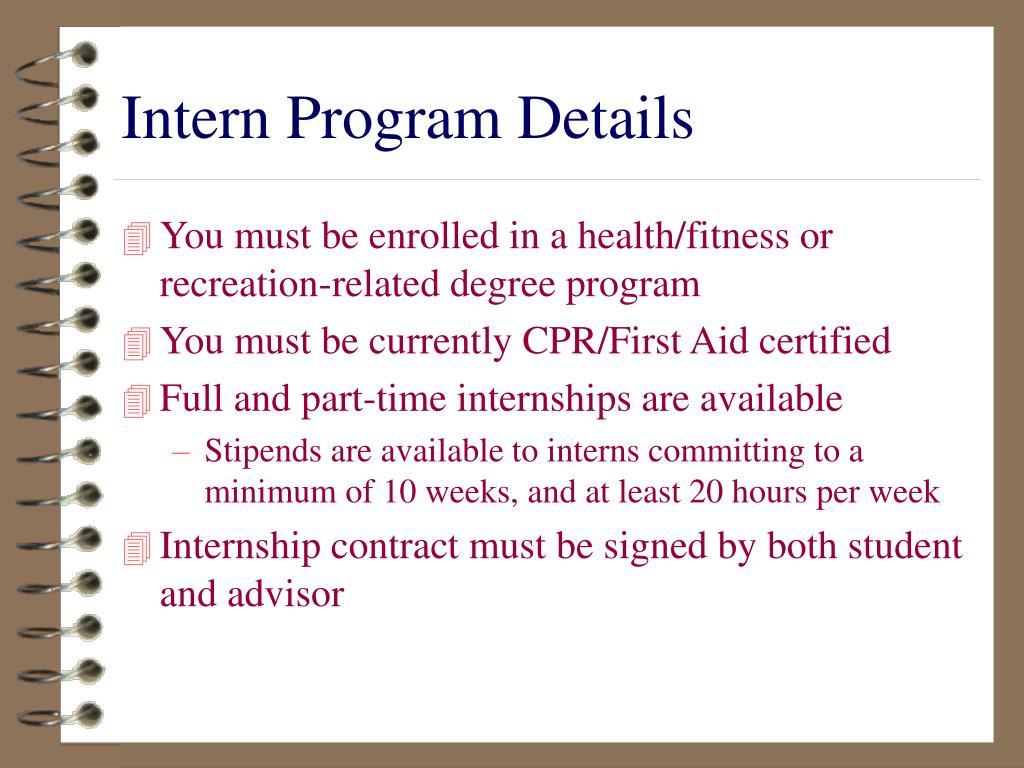 Intern Program Details