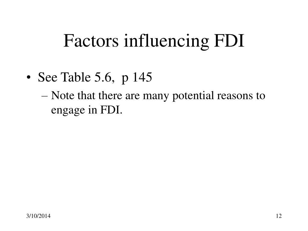 Factors influencing FDI