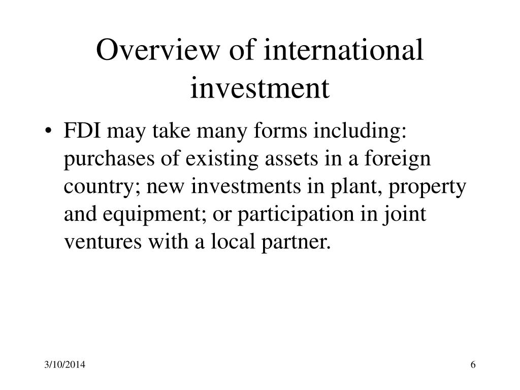 Overview of international investment