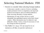 selecting national markets fdi16
