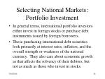 selecting national markets portfolio investment28