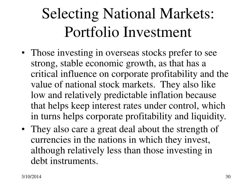 Selecting National Markets:  Portfolio Investment