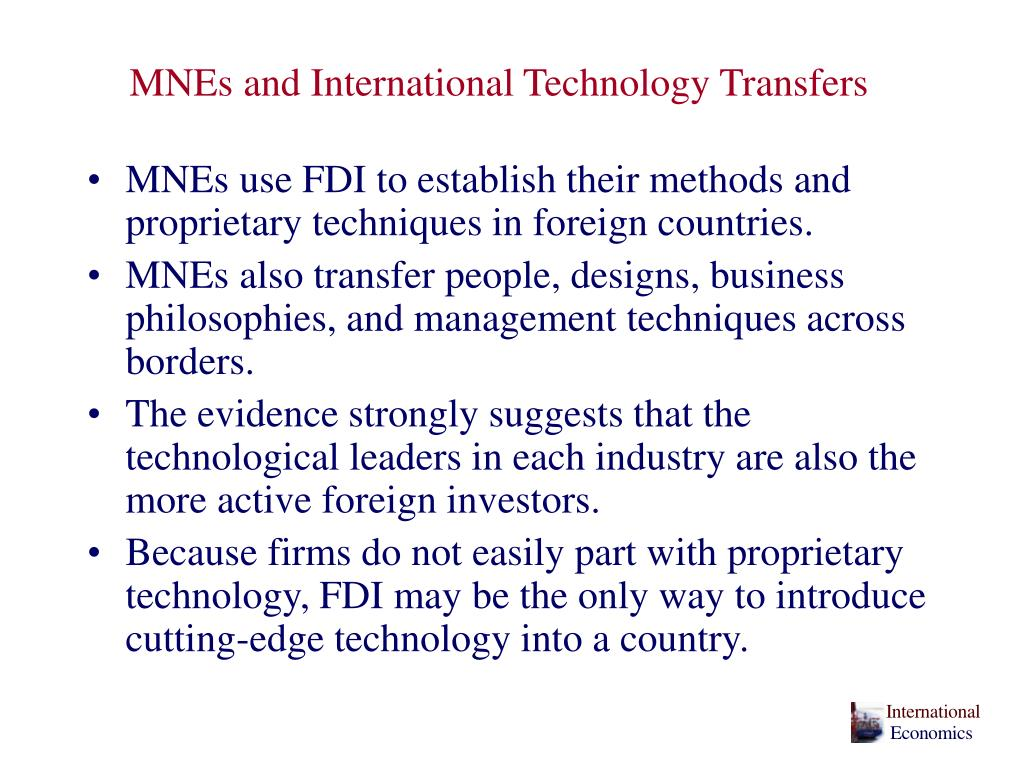MNEs and International Technology Transfers