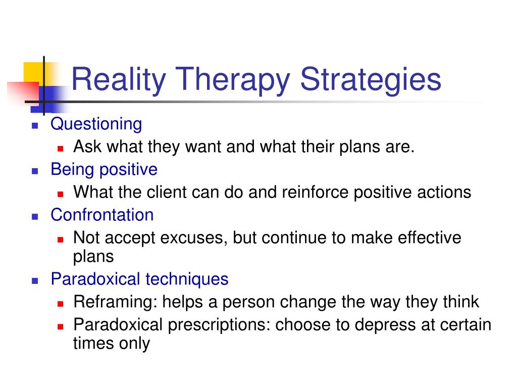 Reality Therapy Strategies