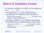 branch subsidiary income