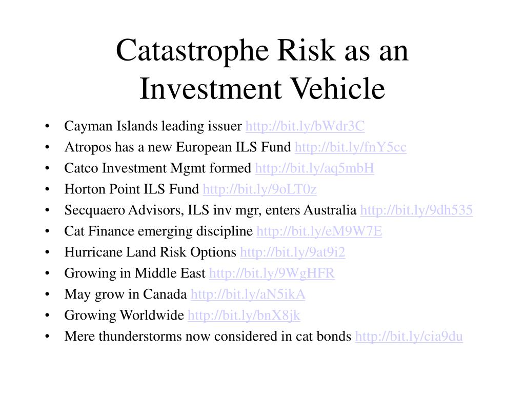 Catastrophe Risk as an Investment Vehicle