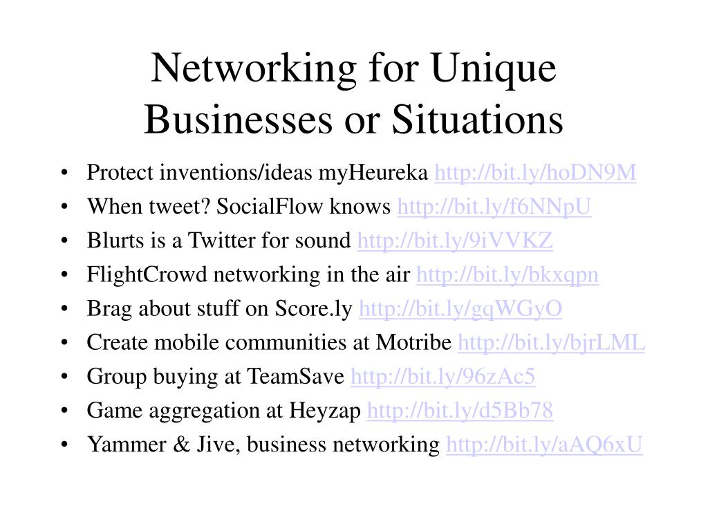 Networking for Unique Businesses or Situations