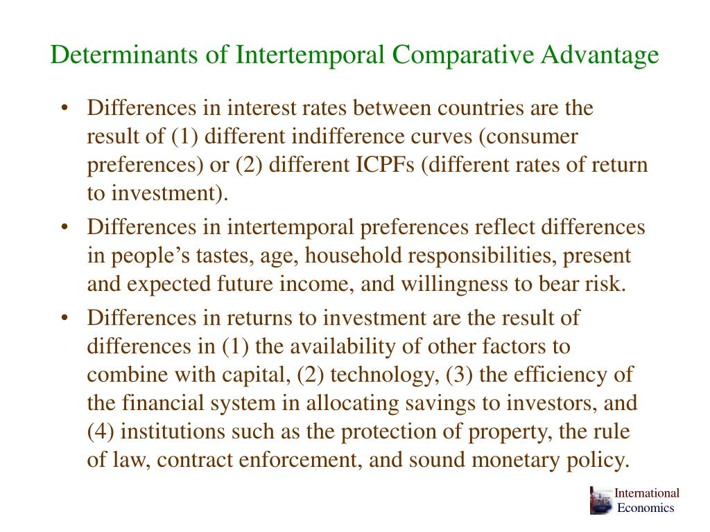 Determinants of Intertemporal Comparative Advantage