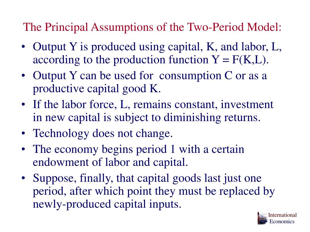 The Principal Assumptions of the Two-Period Model: