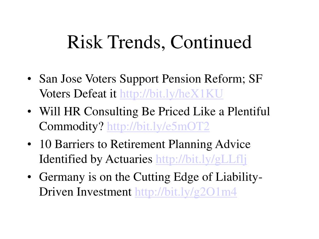 Risk Trends, Continued