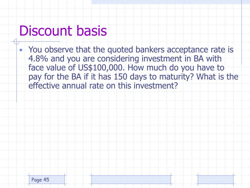 Discount basis