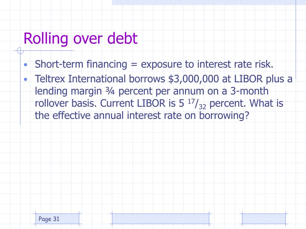 Rolling over debt