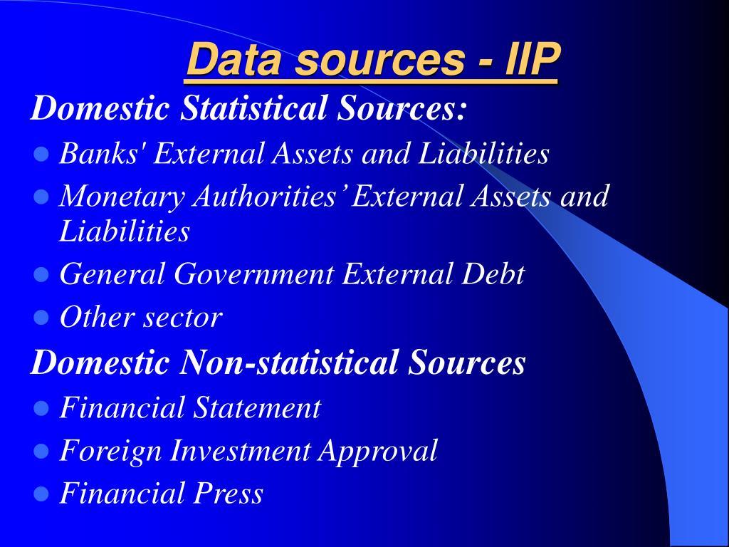 Data sources - IIP