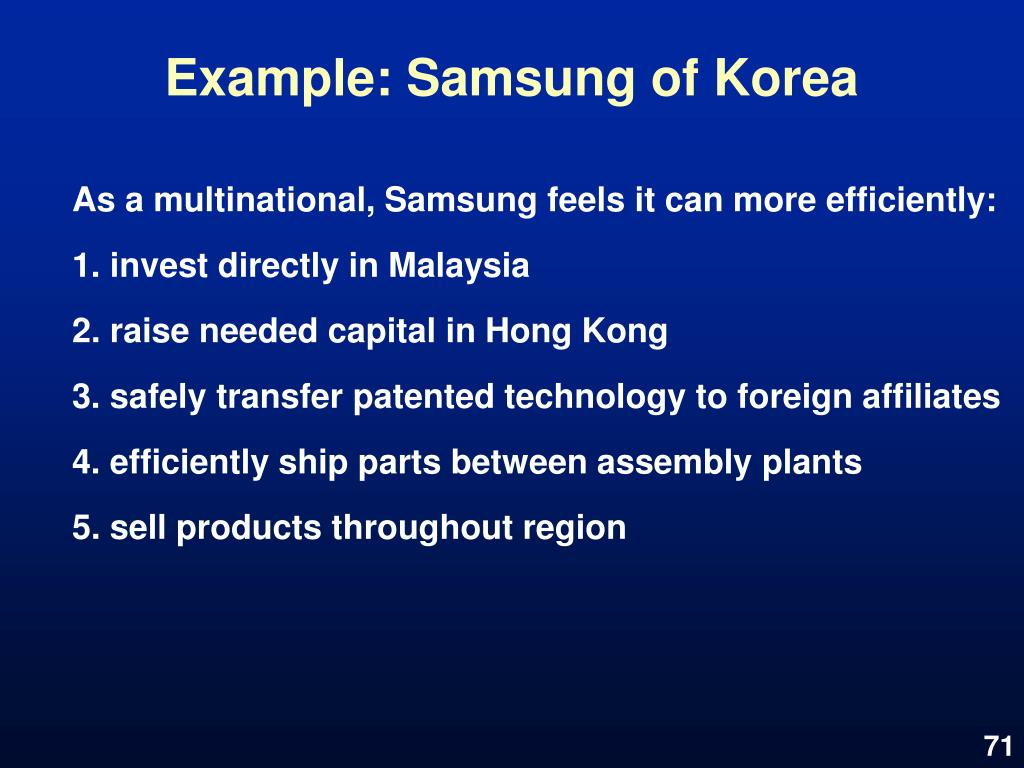 Example: Samsung of Korea