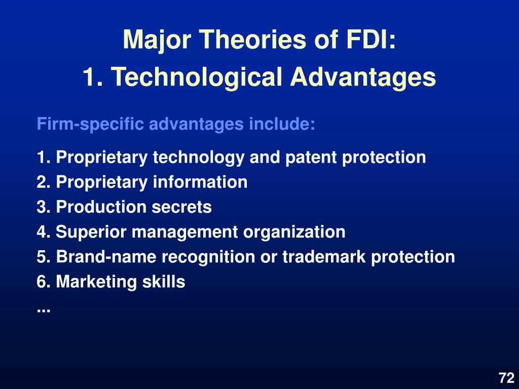 Major Theories of FDI: