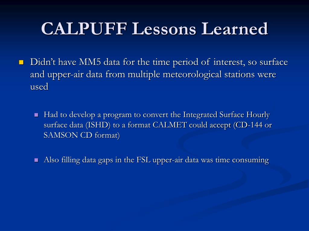 CALPUFF Lessons Learned