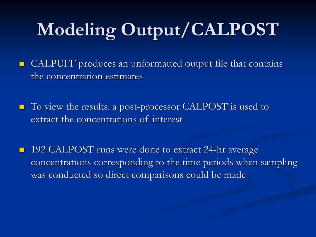 Modeling Output/CALPOST