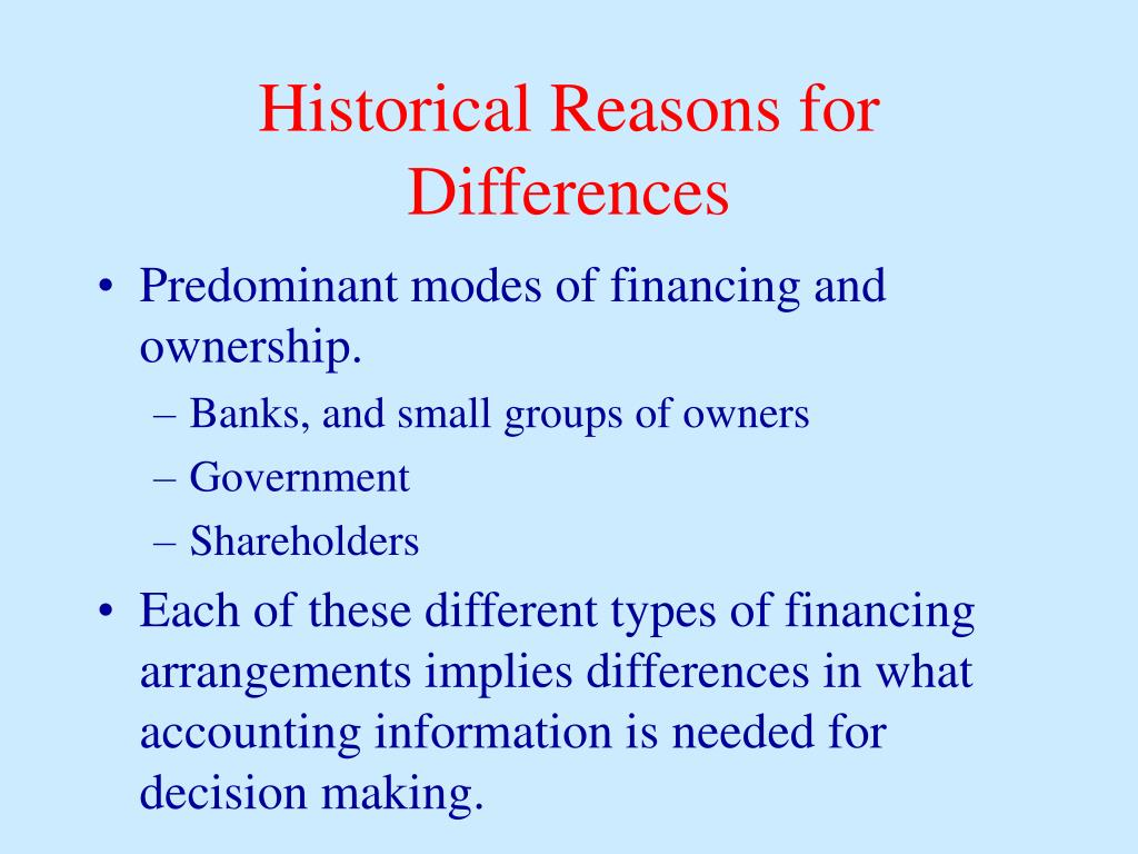 Historical Reasons for Differences
