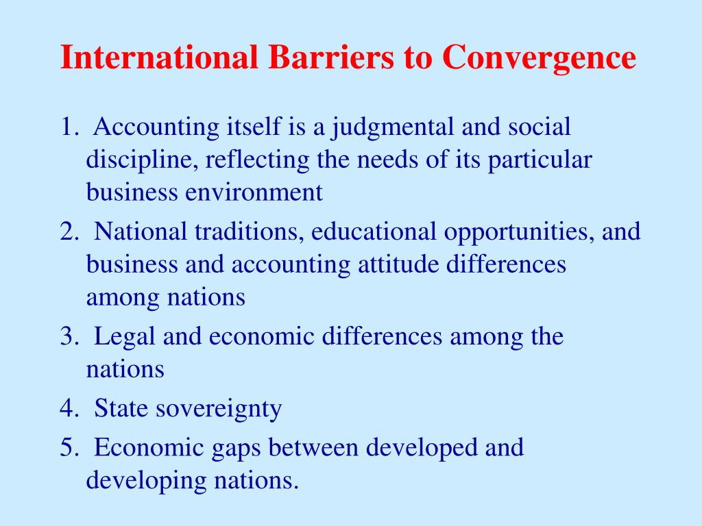 International Barriers to Convergence