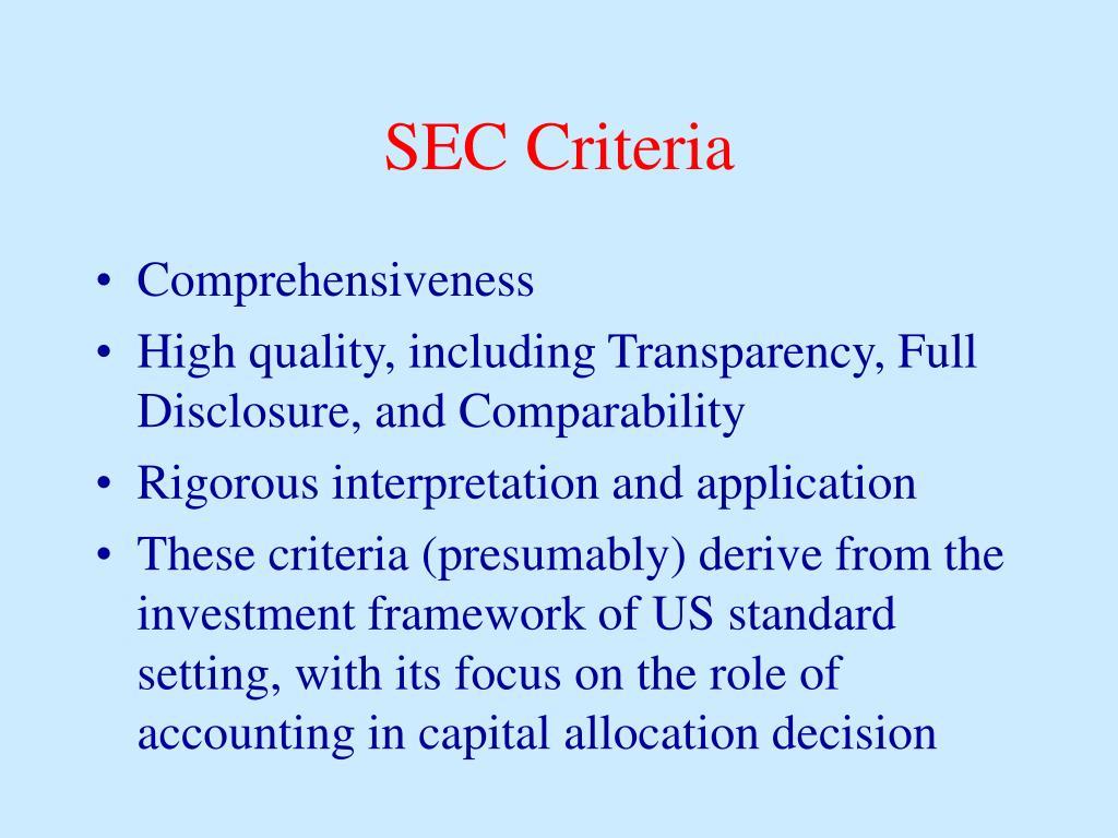 SEC Criteria