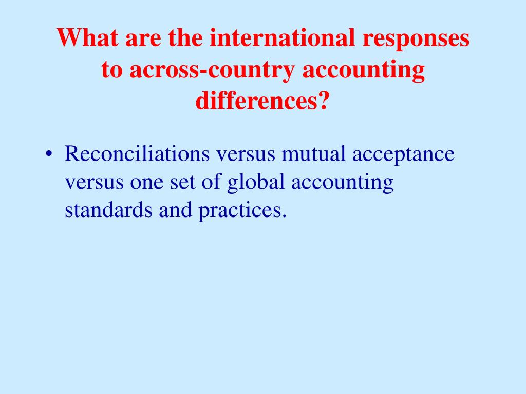 What are the international responses to across-country accounting differences?