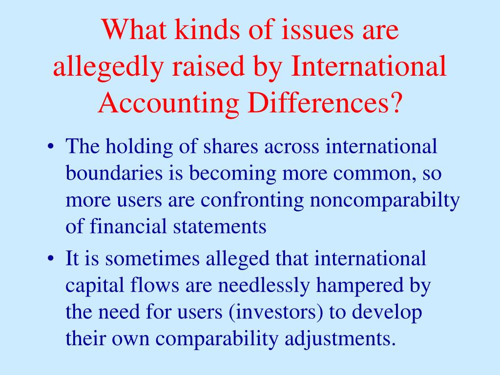 What kinds of issues are allegedly raised by International Accounting Differences?
