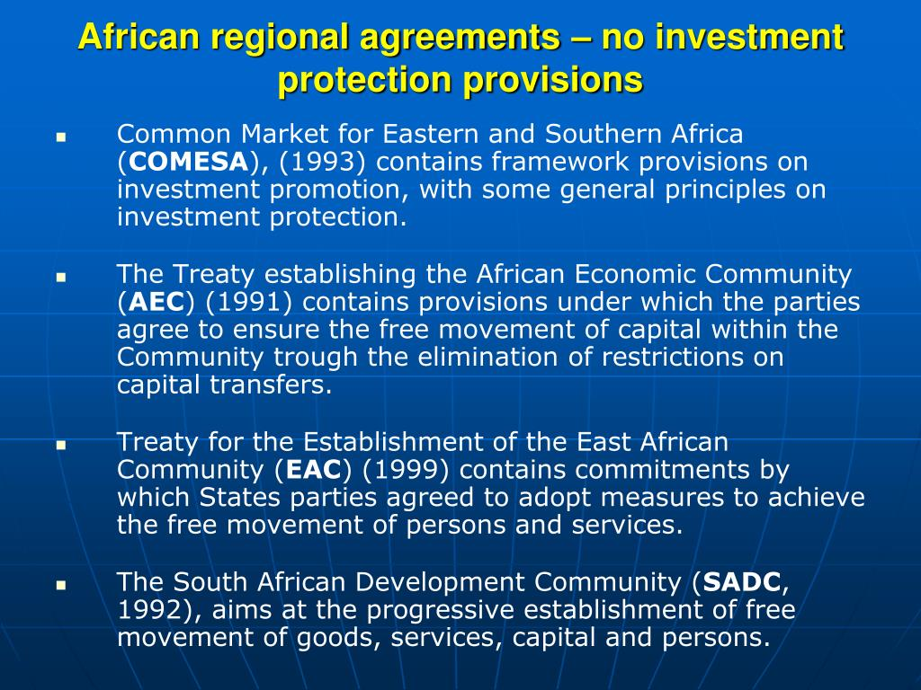 African regional agreements – no investment protection provisions