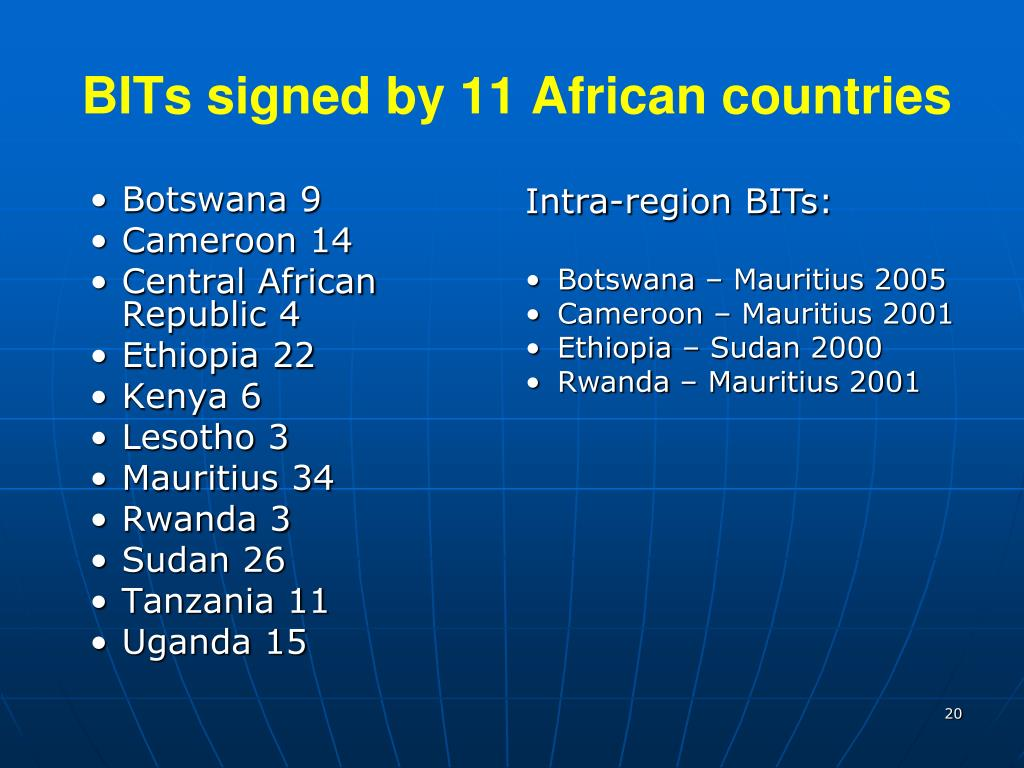 BITs signed by 11 African countries