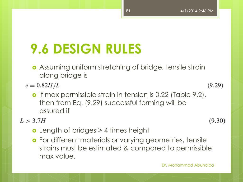 9.6 DESIGN RULES
