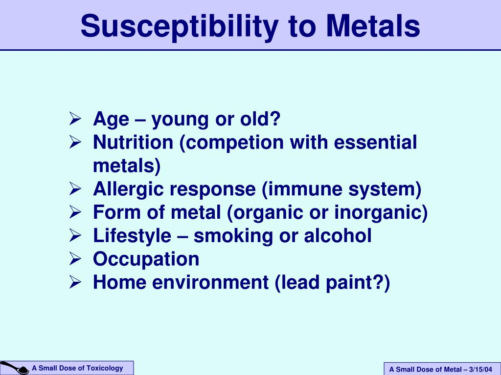 Susceptibility to Metals