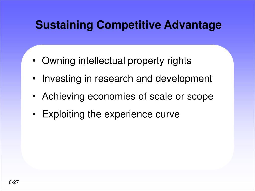 Sustaining Competitive Advantage