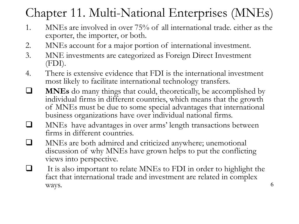 Chapter 11. Multi-National Enterprises (MNEs)