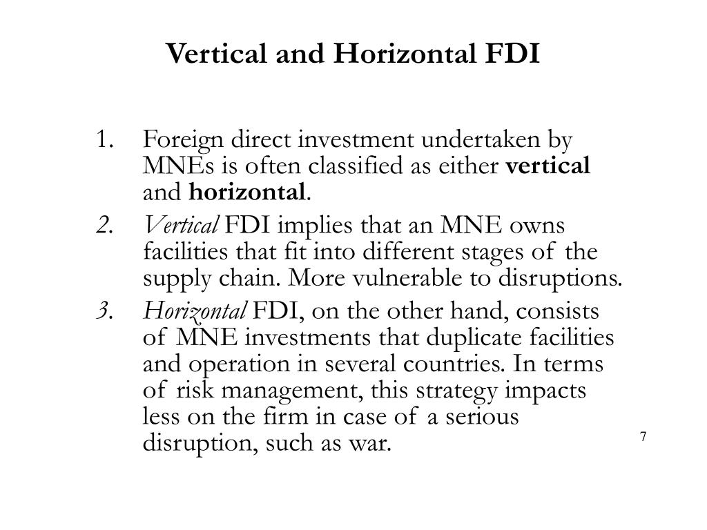Vertical and Horizontal FDI