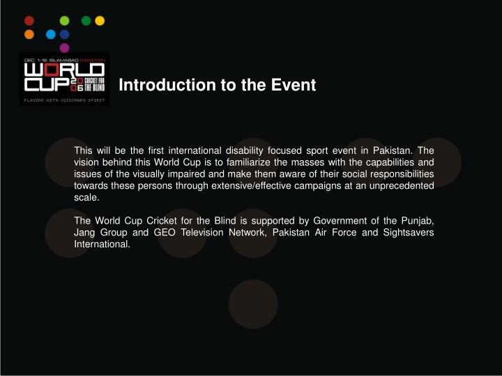 Introduction to the Event