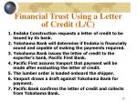 financial trust using a letter of credit l c10