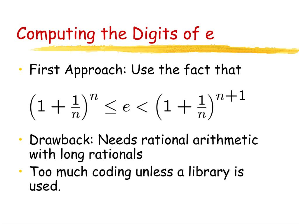 Computing the Digits of e