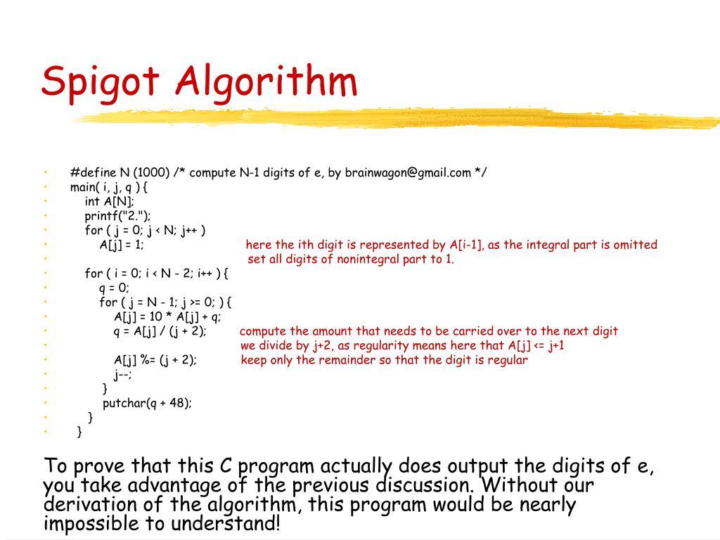 Spigot Algorithm