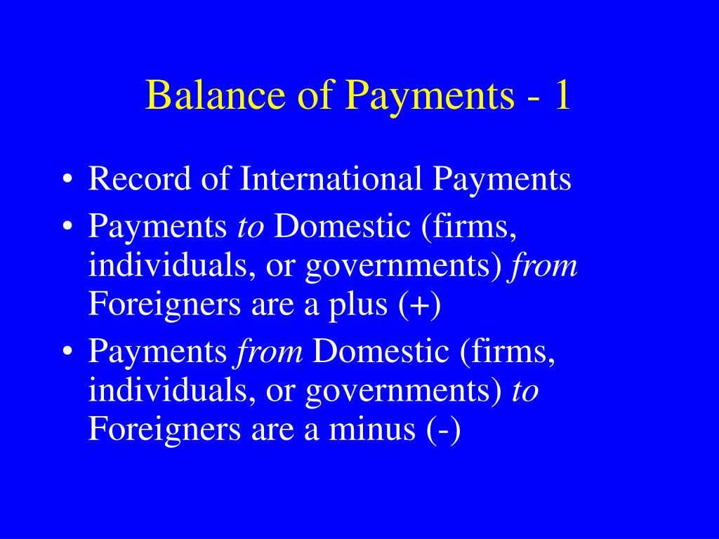 Balance of Payments - 1