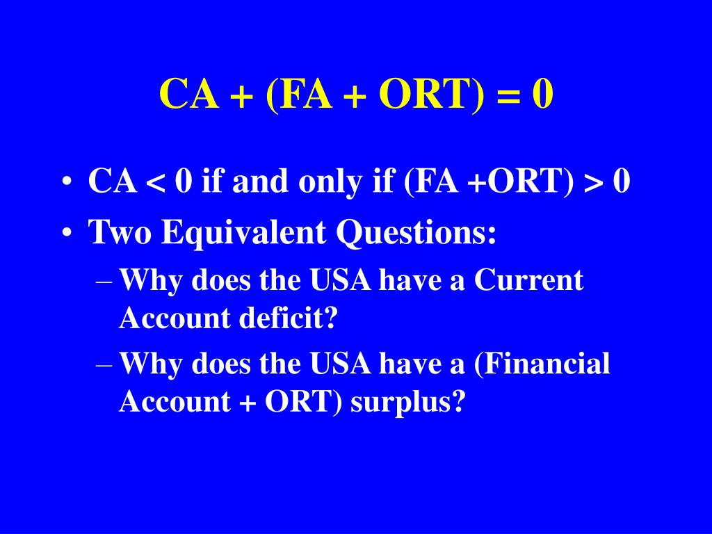 CA + (FA + ORT) = 0