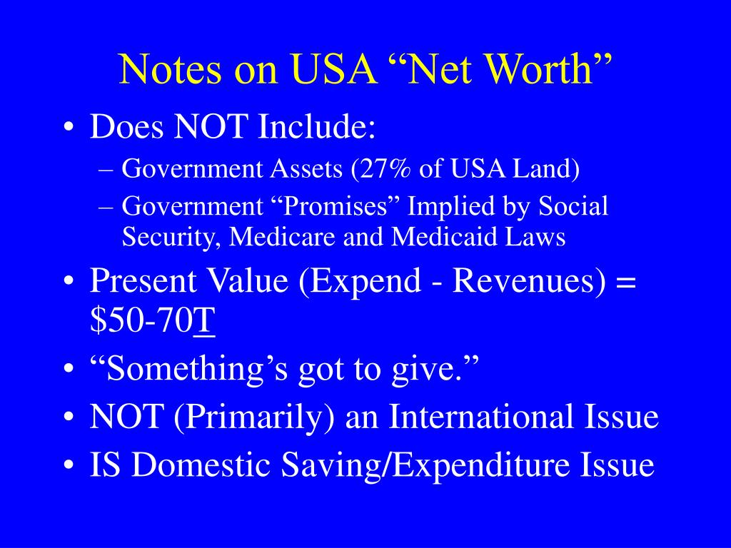 """Notes on USA """"Net Worth"""""""