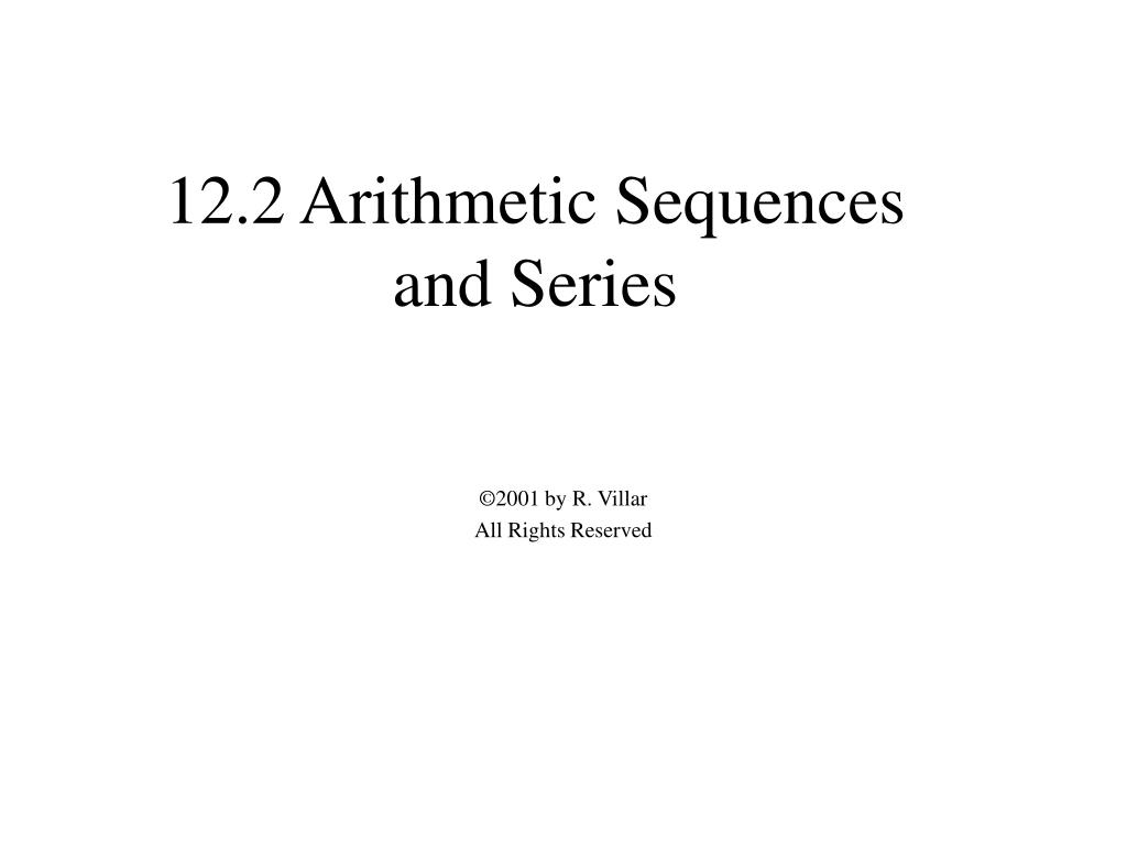 12.2 Arithmetic Sequences