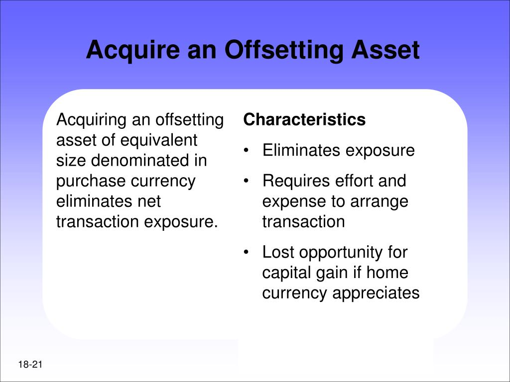 Acquiring an offsetting asset of equivalent size denominated in purchase currency eliminates net transaction exposure.