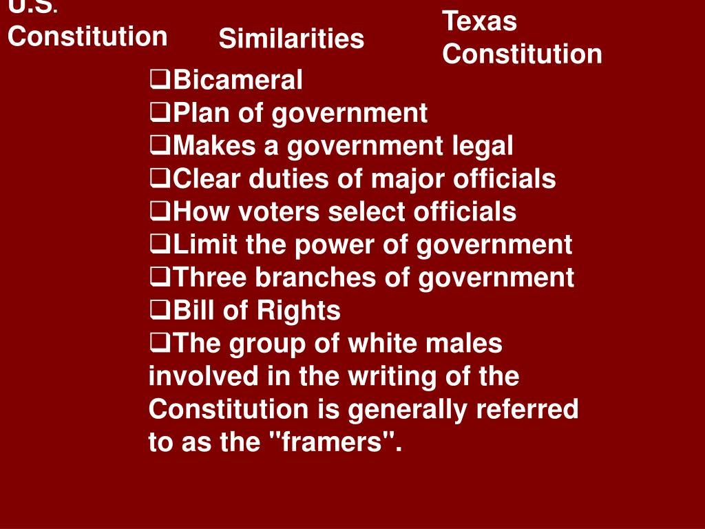 compare and contrast texas constitution and In many ways, the us and texas constitutions are similar documents they both   in contrast, the texas judiciary is complicated and confusing the texas.