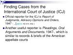 finding cases from the international court of justice icj39