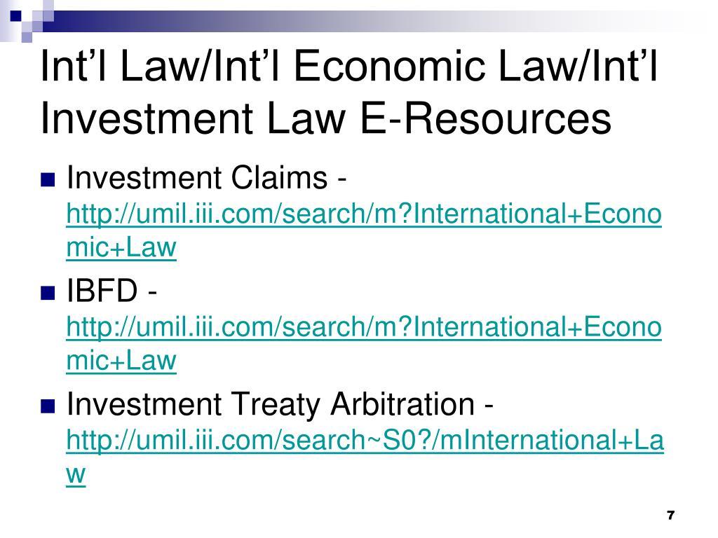 Int'l Law/Int'l Economic Law/Int'l Investment Law E-Resources