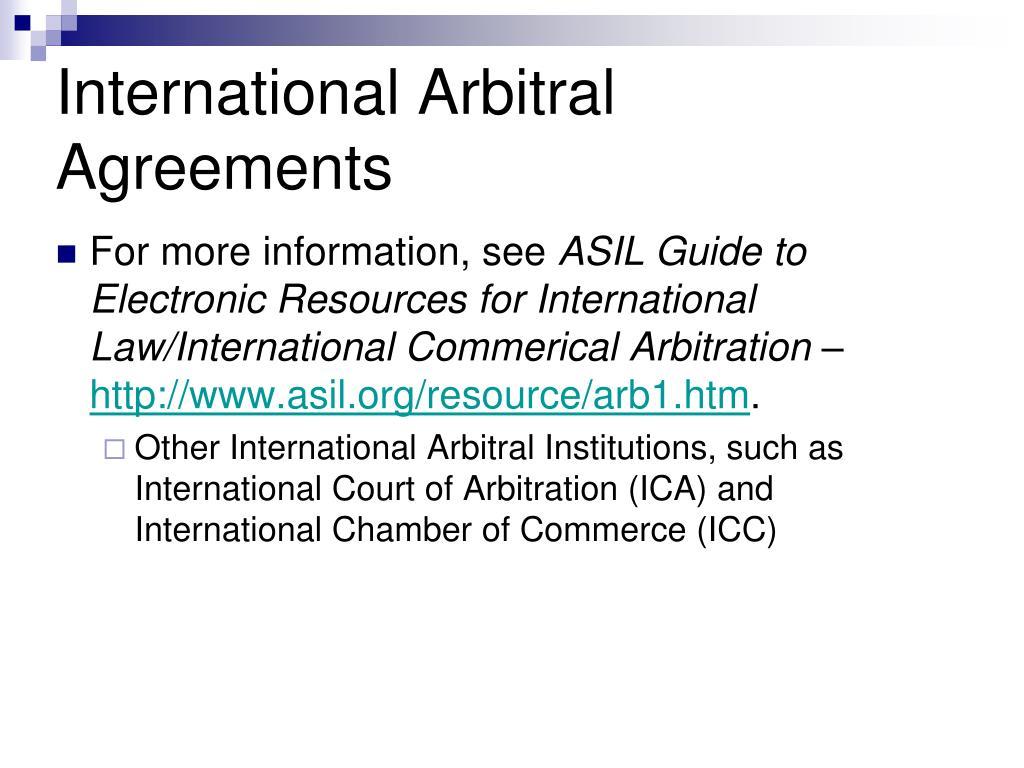 International Arbitral Agreements
