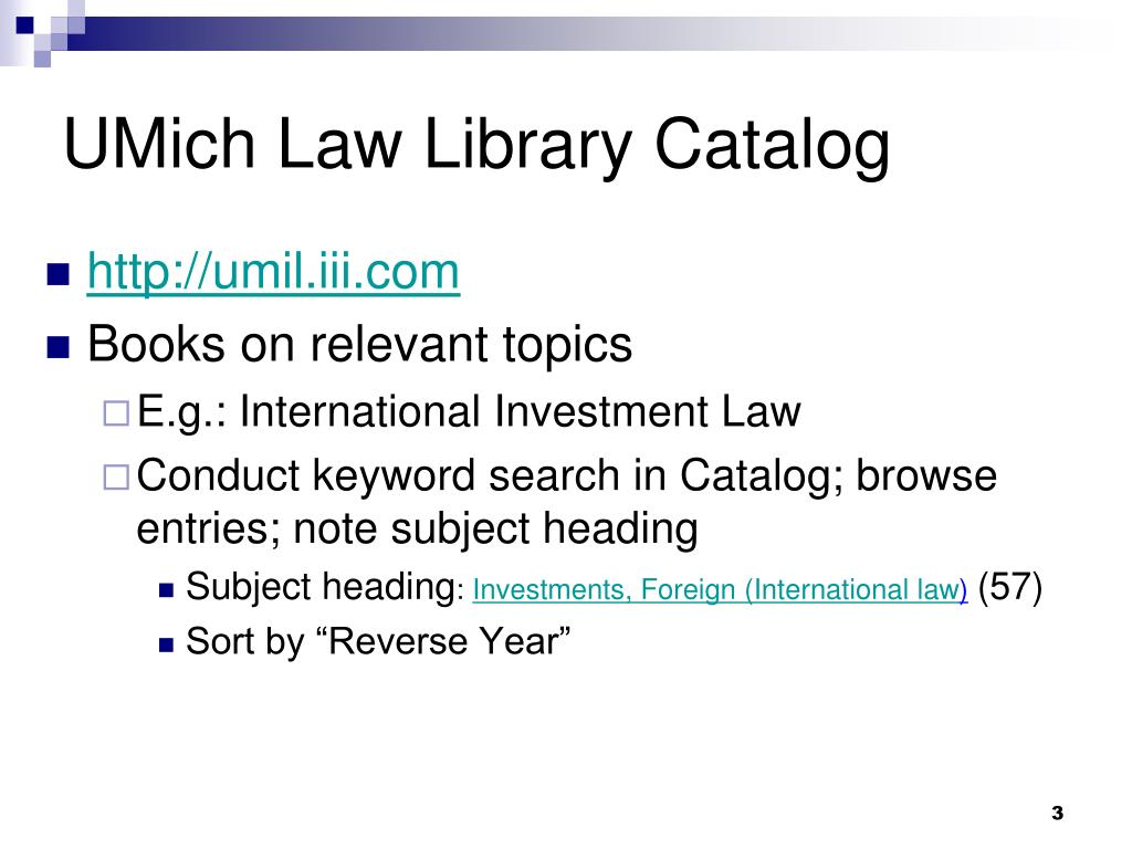 UMich Law Library Catalog